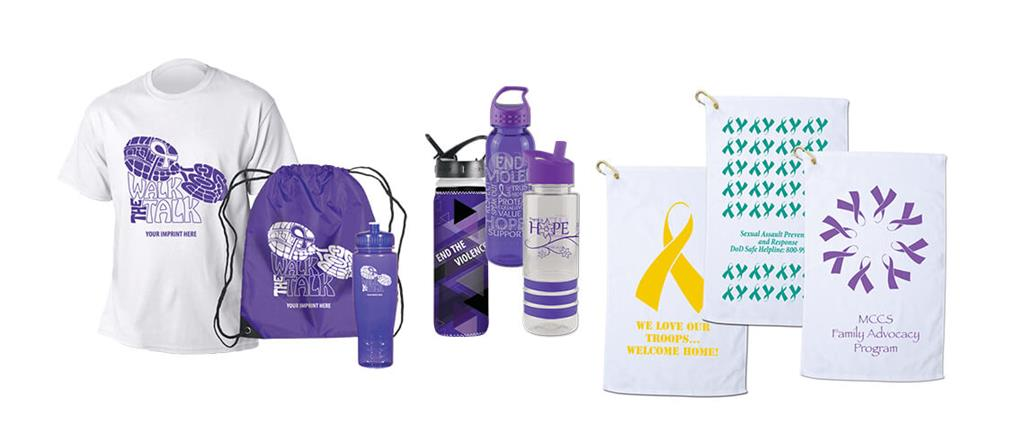 PSA racer kit, DVAM water bottles and awareness towells